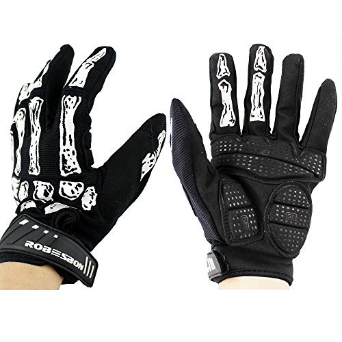 Ezyoutdoor Bike Glove Breathable Unisex Reflex Bike Full Finger Glove Outdoor Cycling Cycling Motorcycle Gloves for Riding Outdoor Sports Hunting Climbing Hiking (Black and white)
