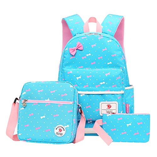 Moonwind Polka Dot 3pcs Kids Book Bag School Backpack Handbag Purse Girls Teen (Bowknot Pattern-Sky Blue)