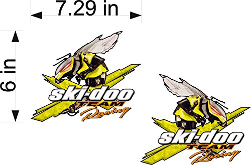 (SKI-DOO Racing Techno Bee / PAIR / Vinyl Vehicle Snowmobile Winter Graphic Decal Stickers )