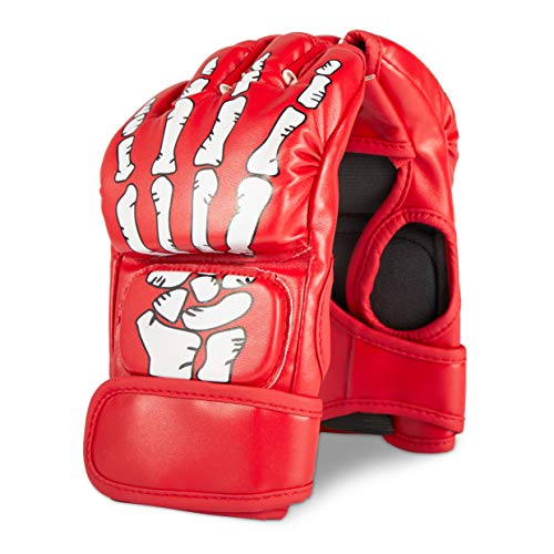 Okuna Outpost Half-Finger Boxing Gloves with Adjustable Wristband for Adults (Red, 1 Pair)