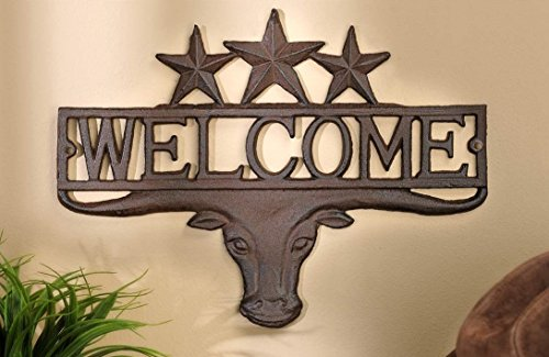 """Rustic Western Star Longhorn Bull Welcome Sign Plaque Wall Décor 13"""""""