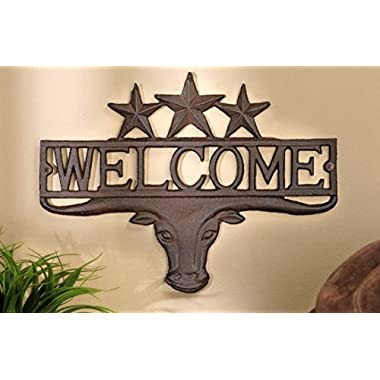 Rustic Western Star Longhorn Bull Welcome Sign Plaque Wall Décor 13