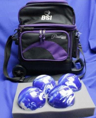 BSIローラーボーリングボールバッグ – 4ボール – ブラック&パープル