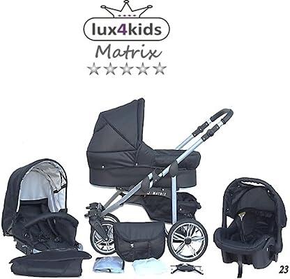 Chilly Kids Matrix II 3 en 1 Poussette combin/ée 64 graphite /& fleurs graphite si/ège auto inclus les adaptateurs, habillage pluie, moustiquaire, roues pivotantes 62 couleurs