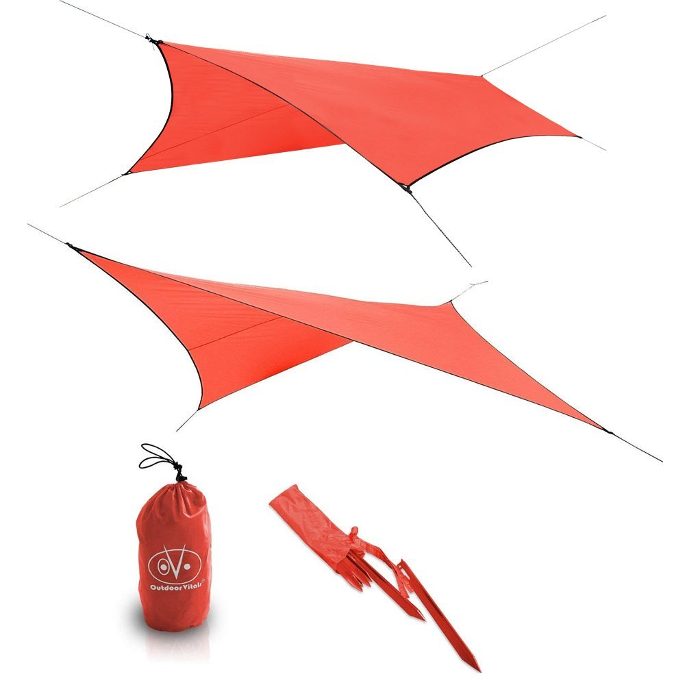 Outdoor Vitals - Ultralight Tarp for Hammock/Shelter - 20D Silpoly (Red, Chief (6 Sided))... by Outdoor Vitals