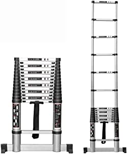 WLABCD Ladders,En131 Telescoping Ladder with Stabiliser Bar - Aluminum Extension Ladders for Home Use Roof Outdoor Activities Heavy Duty Ladders, 330 Lb Capacity,12Ft/3.8M,10Ft/3.2M