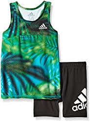 Adidas Baby Girls' Tee Shirt and Short Set, Tropical Dot Print, 3 Months