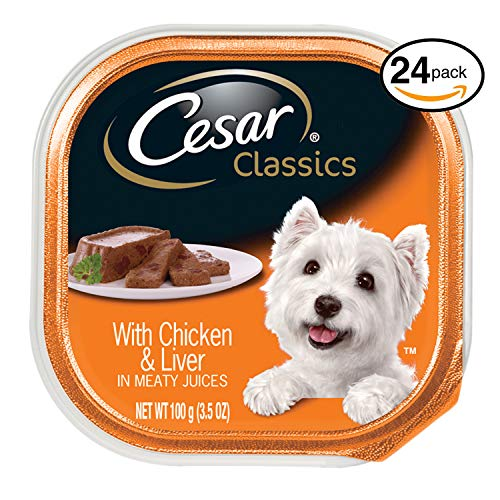 CESAR CANINE CUISINE Wet Dog Food with Chicken and Liver, (Pack of 24) 3.5 oz. Trays