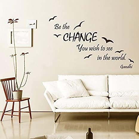 Wall Decal Quote Be The Change You Wish To See In The World Vinyl Stickers Sea Gull Mural Home Interior Design Living Room Decor Brown 21 5 X34 Home Kitchen