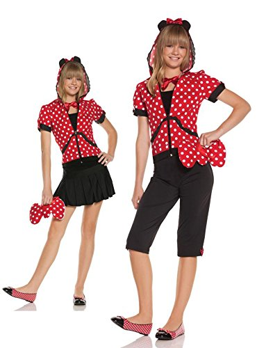 [UHC Teen Girl's Animals Miss Minnie Mouse Hooded Halloween Costume, JR S/M (1-3)] (Ultimate Party Animal Halloween Costume)