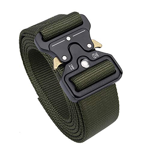 Maylisacc Quick Release Tactical Riggers Belts - Heavy Duty Nylon Webbing Military Belt with Metal Buckle Army Green