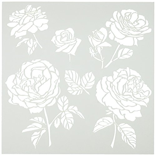 CRAFTERS WORKSHOP TCW6X6-514 Cabbage Roses Template, 6 by 6