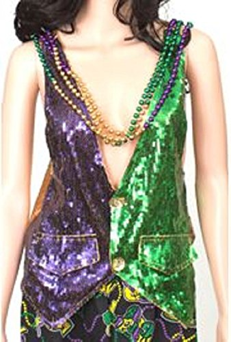 [Mardi Gras Sequin Vest Size Large Beads are not included Back in yellow sequins] (Mardi Gras Costumes Vest)