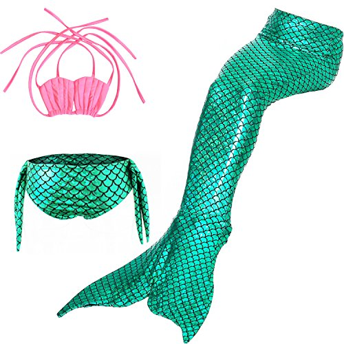 Jasmey 3 Pcs Girls Mermaid Swimsuit Swimwear Mermaid Tail for Swimming Bathing Suit Bikini Set Mermaid Princess Costume Green