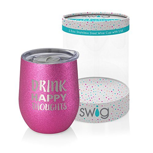 Swig Celebrations 12oz Wine-Drink Happy (Celebration Wine)