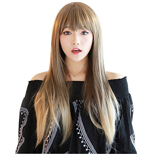 NEWPECK Girls Natural Straight Long Hair Women Harajuku Cosplay Wig Mixed Flaxen Beige Brown (Faucet Rub)