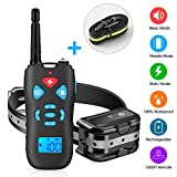 Dog Training Collar, Rechargeable Dog Shock Collar with Remote & 3 Training Modes, Beep, Vibration & Shock - 100% Waterproof, Long Range 1800 FT No Bark Collar for Small Medium Large Dogs (Black)
