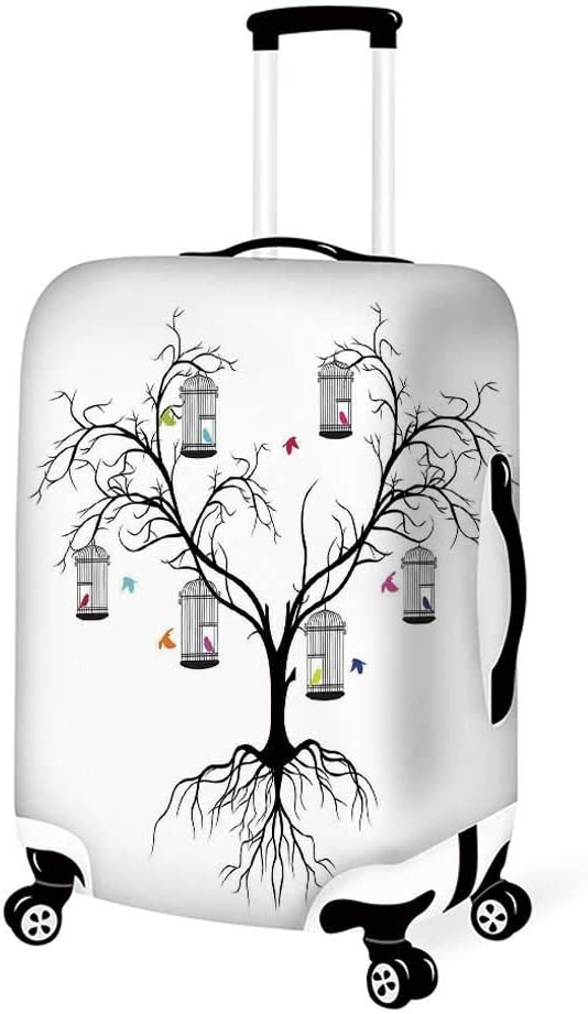 19.6W x 28.9H Forest Stylish Luggage Cover,Colorful Forest with Oak and Willow Growth Purity Nobility in Mother Earth Theme Art for Luggage,M