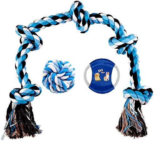WEZVIX Dog Rope Toys for Aggressive Chewers - 3 Feet 5 Knots Heavy Duty Rope Toy Dog Chew Toys for Large Medium Dogs Tug of War Teeth Cleaning Indestructible Cotton Chewing Rope