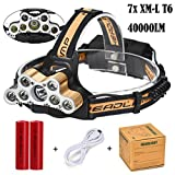 Leegor 40000 Lumens 7 Lights Zoomable LED Headlamp Rechargeable Headlight Travel Head Torch Adjustable Waterproofing Head Light (Battery Included)
