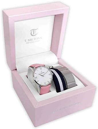 Caja de Reloj Camille 33 mm Reloj Blanco, Pulsera Piel Rosa y 2 Pulseras adicionales (Acero y Pulsera NATO Azul Blanco): Amazon.es: Relojes