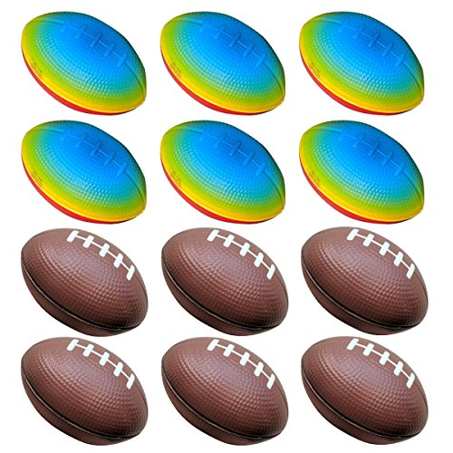 (Football Toys for Kids Party Favor 12 Pack Foam Stress Balls American Footballs Rugby Squeeze Sports Ball (6 Brown + 6 Rainbow))