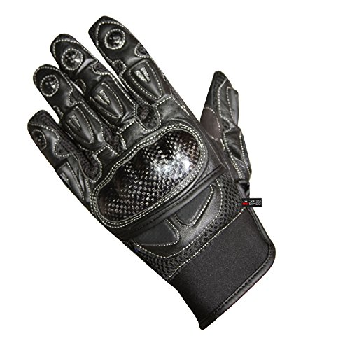 Carbon Gloves Fiber Motorcycle (New Men's Carbon Fiber Motorcycle Summer Street Cruiser Armor Biker Gloves M)