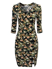 Tom's Ware Women Stylish Floral Print 3/4 Sleeve Bodycon Dress