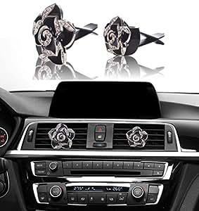 Bling Car Decor Car Air Vent Clip Charms Black Roses Crystal Interior Car Accessory