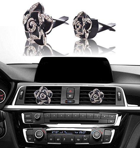 Bling Car Decor Auto Air Vent Clip Charms, Crystal Interior Car Accessory, Auto Decoration Charms, Car Bling Accessories (Black Roses (1 pair))