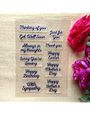 GAOZONGTER Words Happy Birthday Thinking of You Clear Stamps for Card Making and Scrapbooking Silicone Stamps Transparent Stamps Album Photo Decor