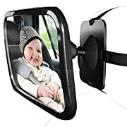 Extra Wide Angle Baby Car Mirror. Rear Facing for Back Seat. Adjusts 360 Degrees. 100% Safe Shatterproof Acrylic Safety Glass, Sturdy Anti- Vibration. Fits Most Cars, Vans, SUVs, Trucks. by HANDIPRO