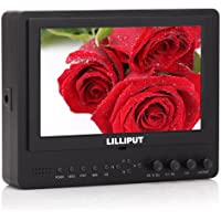Professional LILLIPUT 7 665 / O 665GL-70NP / HO / Y Color TFT LCD Monitor With HDMI, YPbPr, AV Input HDMI Output / With F-970 & QM91D Battery Plate + Sun Shade Cover / for DSLR Camera With HDMI Port / Such as: Canon 5D II / 5D III / 7D / Nikon D800 / D800E / D7000 D4 Camera etc