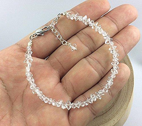 - Size 6.5 inches,Herkimer Diamond Quartz Bracelet,925 Sterling Silver Chain Extender 1 Inch,BH65