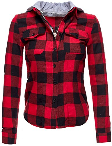 red and black hooded flannel - 9