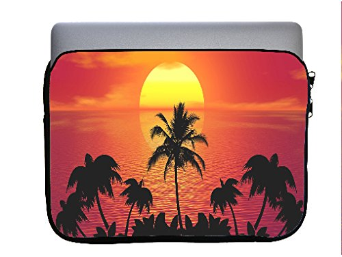 Tropical Beach Ocean Sunset 13x10 inch Neoprene Zippered Laptop Sleeve Bag by Moonlight Printing for Macbook or any other Laptop