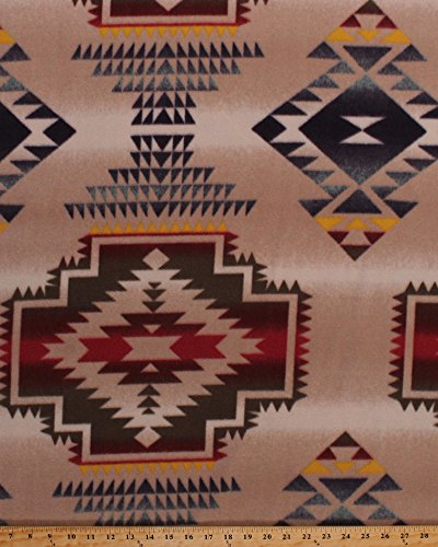 Fleece Southwestern Stripe Southwest Native American Aztec Tribal Windrunner Tan Fleece Fabric Print by the Yard ()
