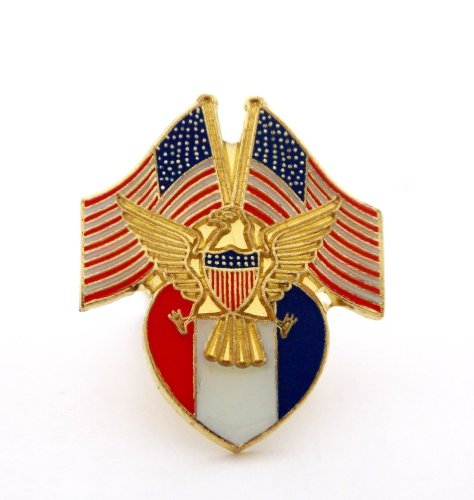 USA Flags Gold Eagle Red White And Blue Shield Patriotic Lapel Hat Pin PPM631 ()