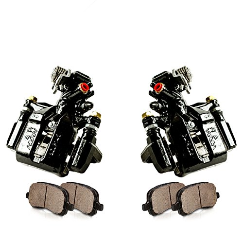 CCK02398 [2] REAR Performance Black Powder Coated Calipers + [4] Quiet Low Dust Ceramic Brake Pads