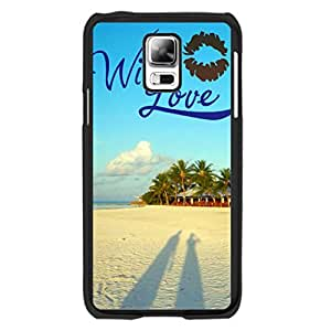 Fashion Blue Sky Cloud Design Samsung Galaxy S5 I9600 Case Cover with Quotes Love Couple Beach Sand Print Hard Plastic Cell Phone Skin for Girls