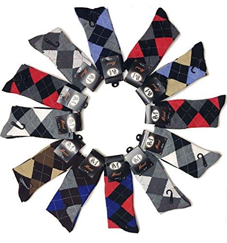 LM Mens Cotton Dress Socks (12 Pack) (Argyle)