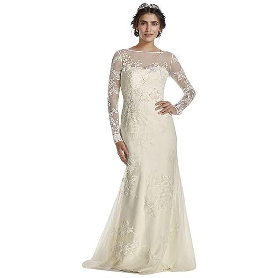Davids Bridal Melissa Sweet Long Sleeved Lace Wedding Dress Style MS251113 Ivory