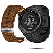Suunto Core Wrist-Top Computer Watch with Spare Replacement Band Bundle (All Black with Brown Leather Replacement Band)
