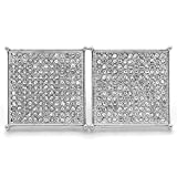 SIlver Tone Iced Out Table 13 line TC Square CZ Micro Pave Screw Back Earrings 20mm