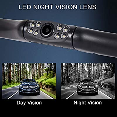 Car Rear View Reversing Backup Camera with IP67 Waterproof Rating, 170°Perfect View Angle & 7 Infrared Night Vision LED Lights, Universal Vehicle Backup Camera System for RV, Truck, Bus: Car Electronics