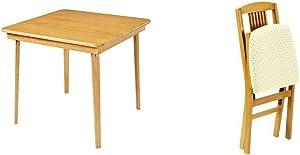 Stakmore Straight Edge Folding Card Table Finish, Oak & ore Simple Mission Folding Chair Finish, Set of 2, Oak