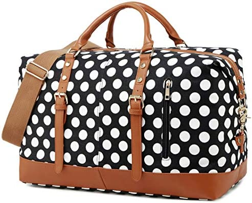 Weekend Travel Bag for Women Overnight Bag Ladies Duffle Tote Bags PU Trim with Shoe Compartment