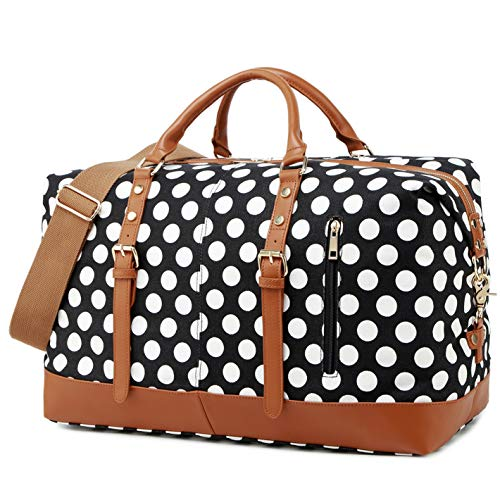 Weekender Duffle Bag Women Canvas Carry On Travel Bag PU Leather Trim Overnight Luggage (Black - Polka Dot)