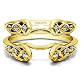 Infinity Celtic Ring Guard Enhancer with 0.24 carats of Diamonds (G-H,I2-I3) in Yellow Plated Sterling Silver