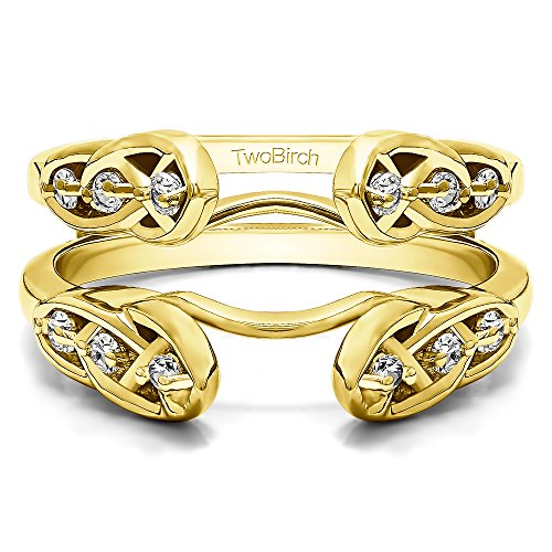 Infinity Celtic Ring Guard Enhancer with 0.24 carats of Diamonds (G-H,I2-I3) in Yellow Plated Sterling Silver by TwoBirch